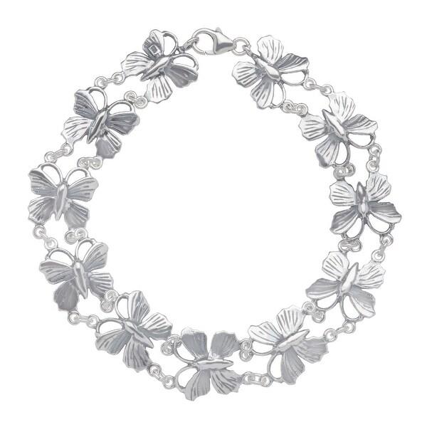Van Kempen Art Nouveau Butterfly Bracelet in Sterling Silver - White