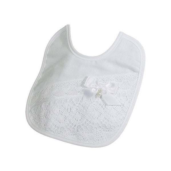 Little Things Mean A Lot Baby Girls White Cluny Trim Cotton Bib