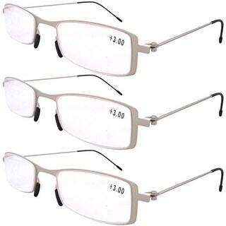 Eyekepper 3-Pack Lightweight Stainless Steel Frame Reading Glasses Silver +4.0