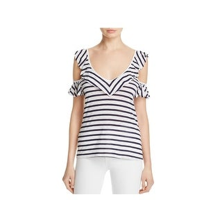 Splendid Womens Venice Casual Top Striped Cold Shoulder