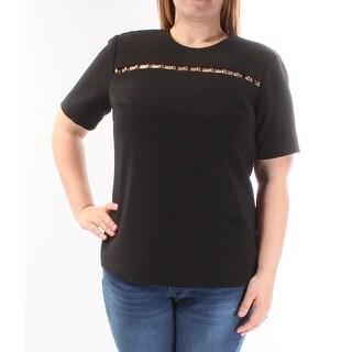 MICHAEL KORS Womens Black Short Sleeve Crew Neck Top  Size: 14