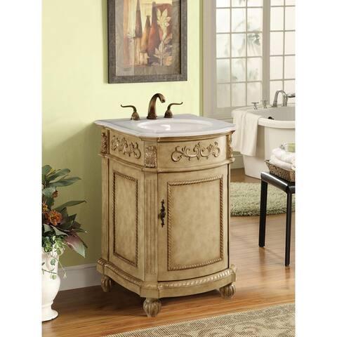 24 inch 1 Door Vanity Cabinet Set with Marble countertop