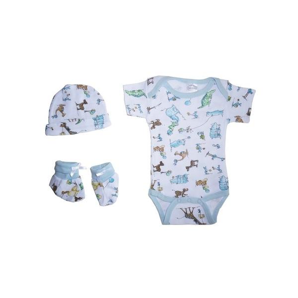 Bambini Baby Boys Newborn Print Rib Knit Bodysuit, Knotted Cap & Booties Gift Set 3-Piece