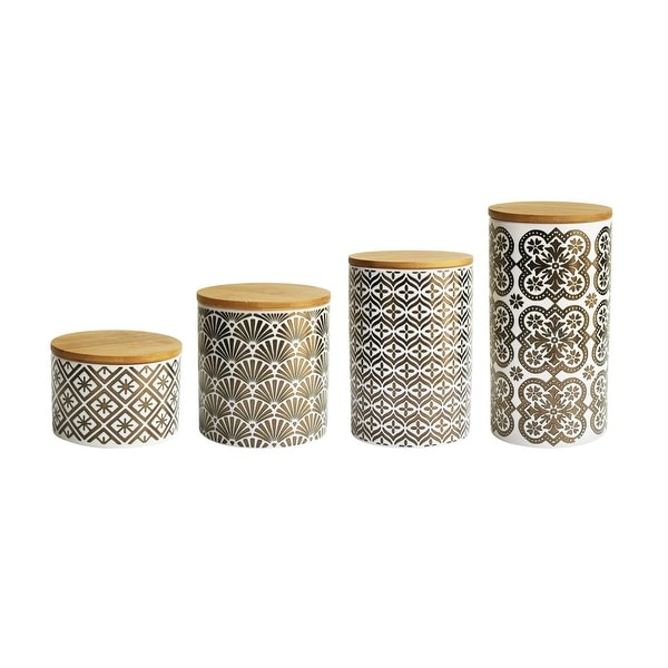 American Atelier Metallic Gold White Earthenware Canister Kitchen Storage Jar Four Piece Set