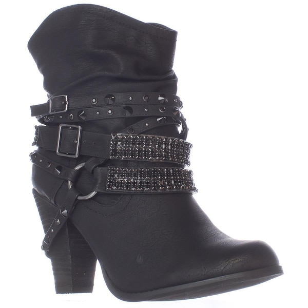 Not Rated Swalini Multi Studded Straps Ankle Boots, Black - 8 us / 39 eu