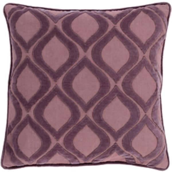 "20"" Rose Mauve and Deep Lilac Decorative Throw Pillow - Down Filler"