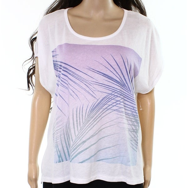 a8f97255c6651 Shop SunDry NEW White Purple Womens Size 2 Leaf-Printed Graphic Tee T-Shirt  - Free Shipping On Orders Over $45 - Overstock - 20893487