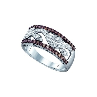 10kt White Gold Womens Round Cognac-brown Colored Diamond Vine Leaf Band Fashion Ring 1/2 Cttw - Brown