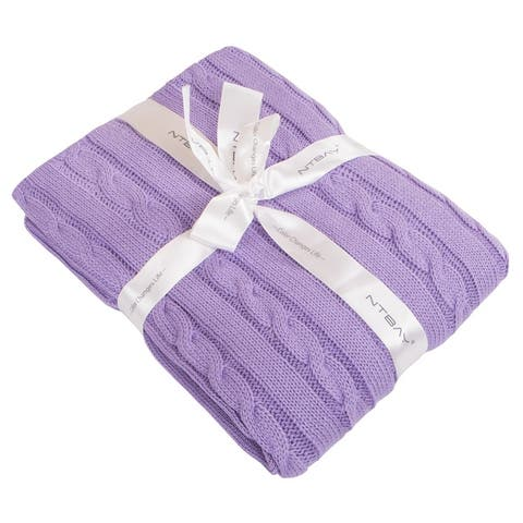 """NTBAY Super Soft Cozy Solid Color 100% Cotton Cable Knit Toddler Throw Blanket Hypoallergenic 30"""" x 40"""""""