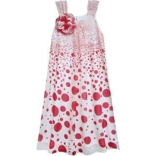 Isobella & Chloe Girls Red Carnival Twist Dot Flower A-Line Dress 7-14