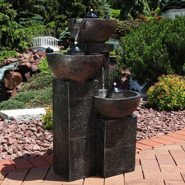 Sunnydaze 3-Tier Burning Bowls Outdoor Patio Fire and Water Fountain - 34-Inch