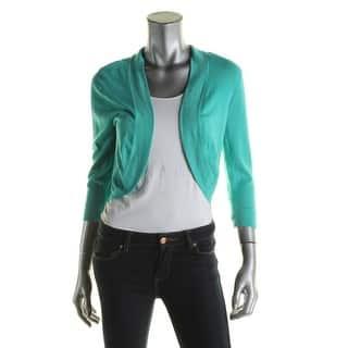 Jessica Howard Womens Shrug Sweater Knit 3/4 Sleeves Green 12|https://ak1.ostkcdn.com/images/products/is/images/direct/86fa3368a58c00743dd9dd2c037083b766ec953e/Jessica-Howard-Womens-Shrug-Sweater-Knit-3-4-Sleeves-Green-12.jpg?impolicy=medium