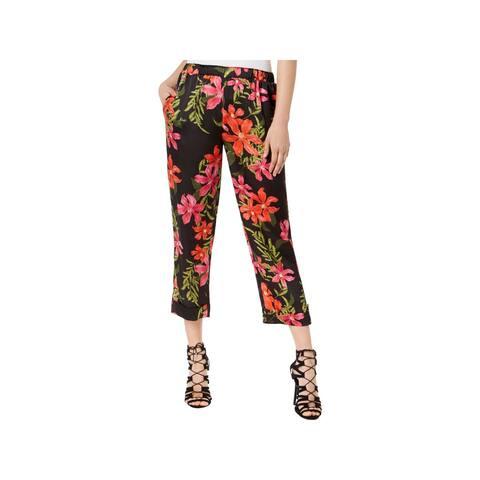 Guess Womens Phoenix Capri Pants Satin Floral Print