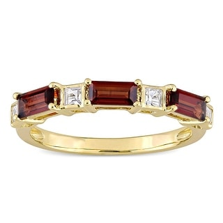 Link to Miadora 10k Yellow Gold Baguette & Square-cut Garnet & White Topaz Stackable Eternity Wedding Band Similar Items in Wedding Rings