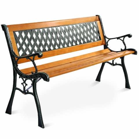 Costway 49 1/2'' Patio Park Garden Bench Porch Path Chair Outdoor Deck