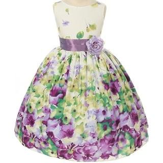 Flower Girl Dress Floral Pattern Print with Sash Lavender KD 303 (Option: 4)