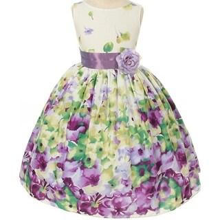 Flower Girl Dress Floral Pattern Print with Sash Lavender KD 303