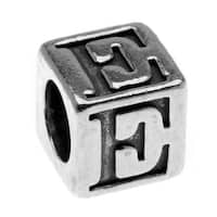 Lead-Free Pewter Alphabet Bead, Letter 'E' 5.5mm Cube, 1 Piece, Antiqued Silver