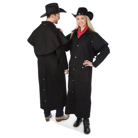 Adult Black Denim Cotton Western Duster Jacket