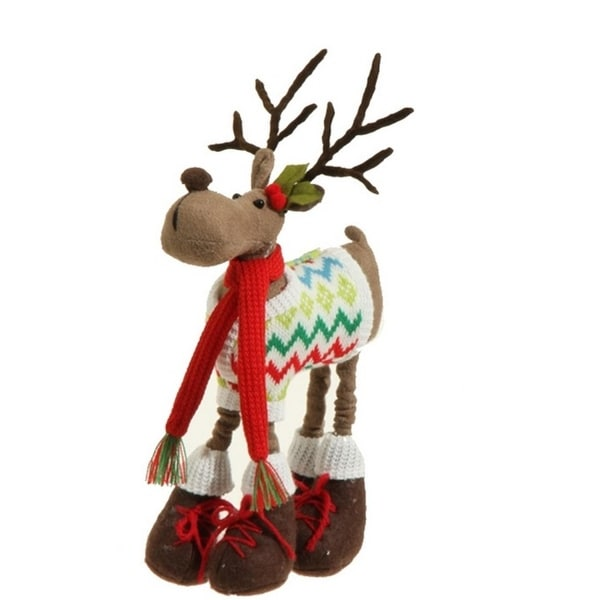 "12"" Merry & Bright Faux Suede Plush Reindeer in a Knit Sweater Christmas Figure Decoration"