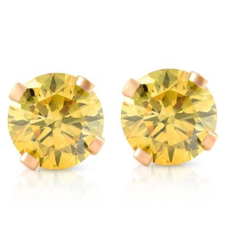 1/4 Ct T.W. Fancy Canary Yellow Lab Diamond Studs 14K Yellow Gold Lab Grown