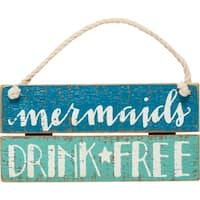 Mermaids Drink Free Slatted Wood Wall Plaque Sign 6 Inches