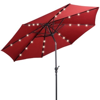 Costway 10ft Patio Solar Umbrella LED Patio Market Steel Tilt w/ Crank Outdoor (Burgundy)