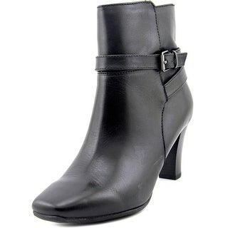 Bandolino Valerie Women Square Toe Leather Black Ankle Boot