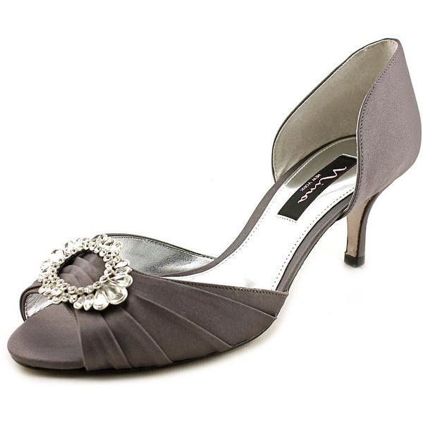 Nina Crystah Women W Open-Toe Canvas Gray Heels