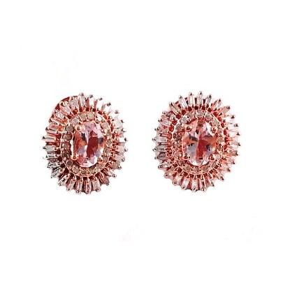Morganite Diamond and Baguette Stud Earrings, Genuine Morganite, Rose Gold, Oval Morganite