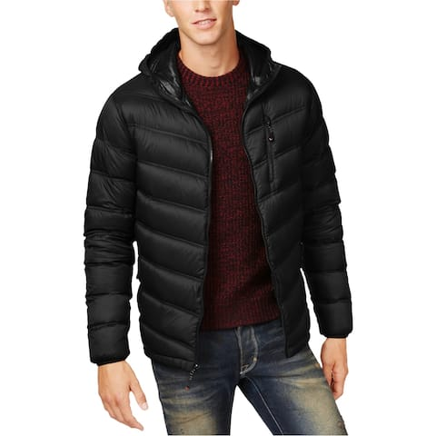 Hawke & Co. Mens Packable Chevron Puffer Jacket, Black, Small