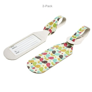 JAVOedge 2 Pack Retro Plant Print Stylish Luggage Tags with Adjustable Strap for Carry On, Luggage, Travel - Blue