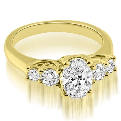 1.50 cttw. 14K Yellow Gold Trellis Oval and Round cut Diamond Engagement Ring