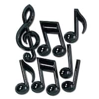 """Club Pack of 84 Jazzy Black Plastic Musical Note Decorations 13"""""""
