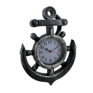 Nautical Anchor and Ship Wheel Antique Pewter Finish Wall Clock