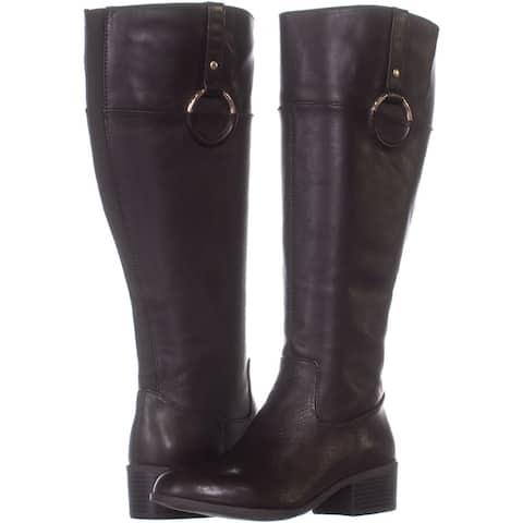 Alfani Womens Briaah Leather Round Toe Knee High Riding Boots