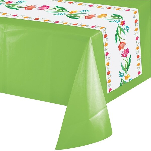Pack Of 12 White And Green Fl Party Banquet Table Runners 14 X 84 Free Shipping Today 21422308