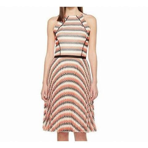 Eva by Eva Franco Black Womens Printed A-Line Dress