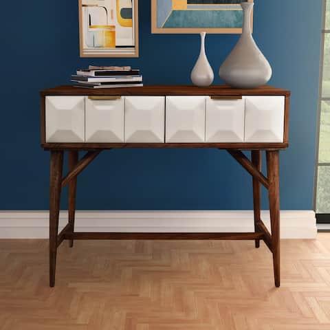 Carson Carrington Greta Burnished Walnut Mid-century Console Table
