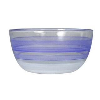 "Set of 2 Purple Retro Stripe Hand Painted Glass Serving Bowls 6"""