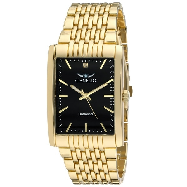 Gianello Mens Genuine Diamond Dial Tank Case Stainless Steel Bracelet Watch Carat Size 1/10. Opens flyout.