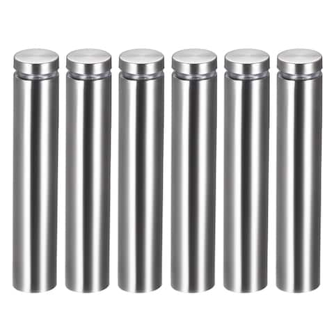 Glass Standoff Mount Stainless Steel Wall Standoff 19mm Dia 102mm Length 6 Pcs - 19mm x 102mm (6 pack) - 19mm x 102mm (6 Pack)