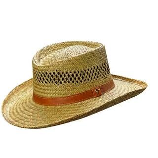 Dorfman Pacific Rush Straw Lightweight Gambler Hat with Wide Brim