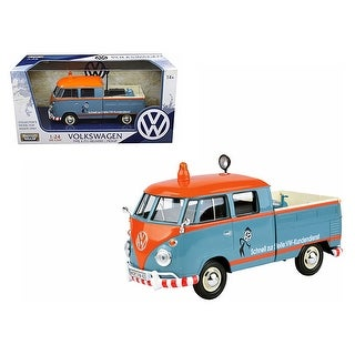 Volkswagen Type 2 (T1) Delivery Pickup Truck Blue/Orange Kundendienst 1/24 Diecast Model Car by Motormax