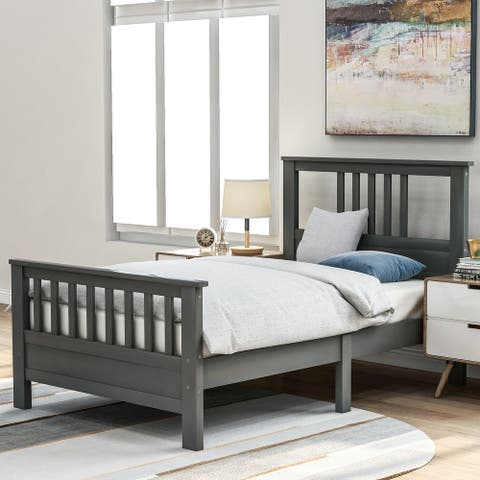 Twin Size Wood platform bed with headboard and footboard