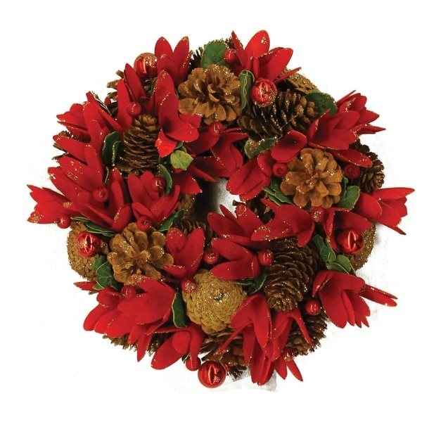 """13"""" Glittered Pine Cone Red Floral Artificial Christmas Wreath with Ornaments - Unlit"""