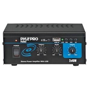 Mini Stereo Power Speaker Amplifier - MP3/USB Audio Amp System, 2x40 Watt