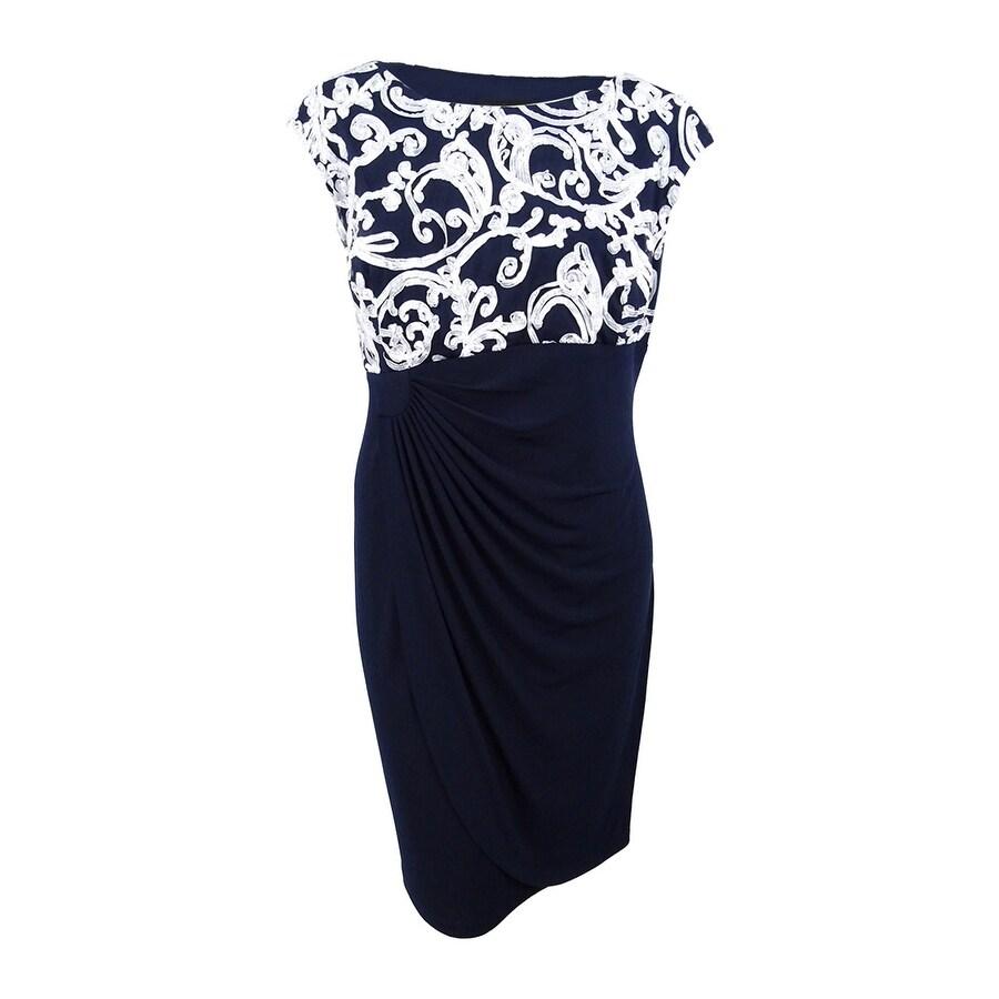 Connected Women/'s Plus Size Soutache Dress