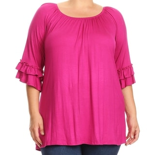 Women Plus Size Half Sleeve Solid Off Shoulder Casual Tunic Top Dress Pink