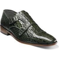 Stacy Adams Men's Golato Cap Toe Double Monk Strap 25117 Olive Hornback Print Leather